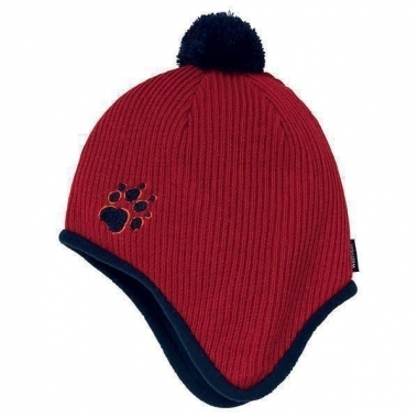 Jack Wolfskin Kids Knitted Pompom Cap - indian-red / S