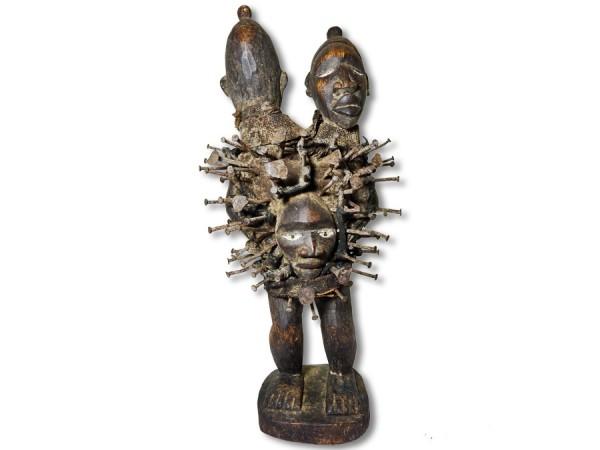 Doppelkopf Figur der Nkisi DR Kongo/Congo 51cm