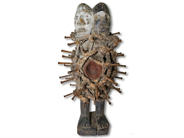 Doppelkopf Figur der Nkisi DR Kongo/Congo Afrika 28cm