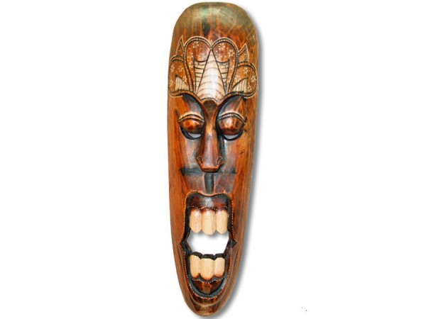 Maske / Holzmaske rustikal gebrannt 50cm Doktor Gigi