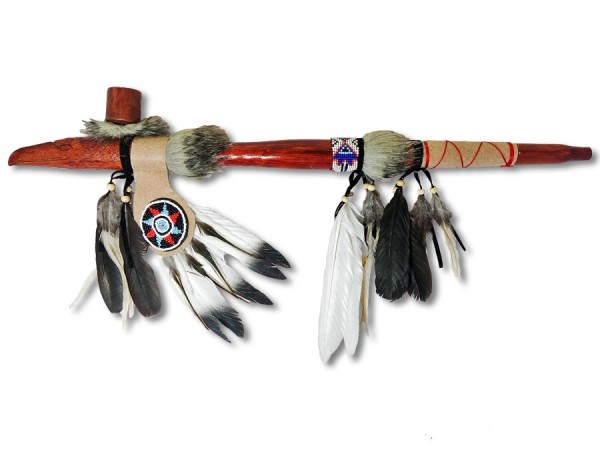 Indianer Friedenspfeife/Kalumet Adlerkof Federfächer 60cm