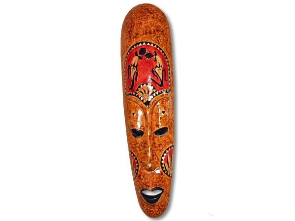 Holzmaske, Lombockmaske schmal, farbig 50cm