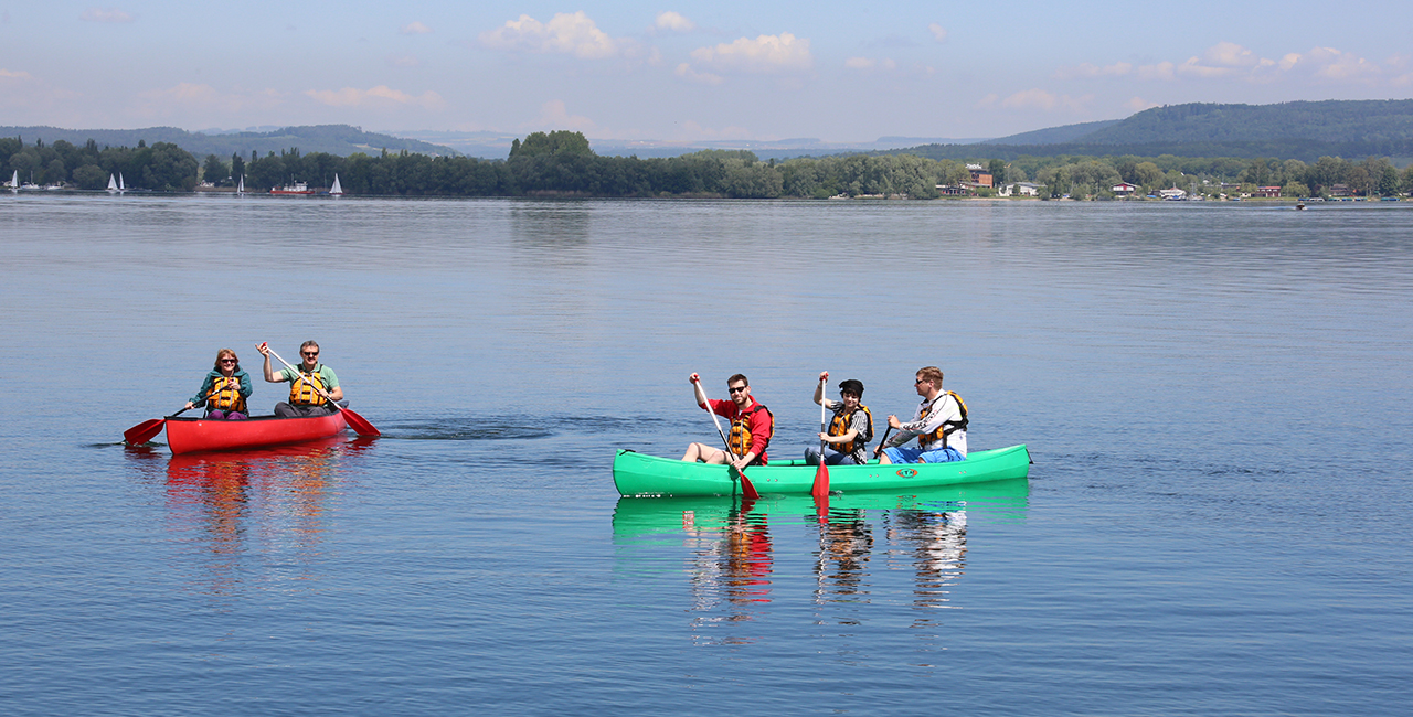 Kanutour auf dem Bodensee in Reichenau, Raum Konstanz