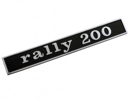 Schriftzug Aufkleber Sticker für Heck RALLY 200 schwarz/alu 132x17mm
