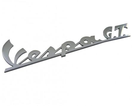 Schriftzug Aufkleber Sticker für Beinschild Vespa GT chrom 160x45mm