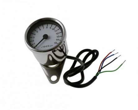 Drehzahlmesser D = 60 mm, weiß/chrom, elektronisch, 15.000 U/min Motorrad, rund