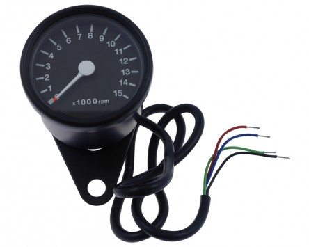 Drehzahlmesser Motorrad rund elektronisch D = 60 mm, schwarz, weiss 15.000 U/min