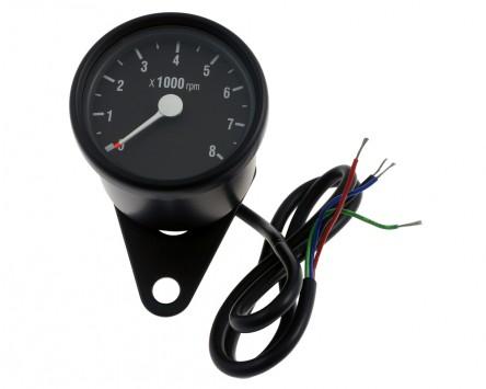 Drehzahlmesser Motorrad rund elektronisch D = 60 mm, schwarz/weiss, 8.000 U/min