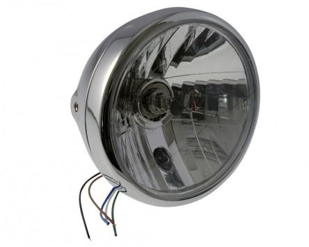 Scheinwerfer Motorrad 7 Zoll, Chrom, klares Glas (Prismenreflektor) Chopper