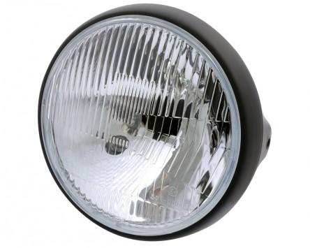 Scheinwerfer Motorrad British-Style matt schwarz, 7 Zoll, H4, Standlicht