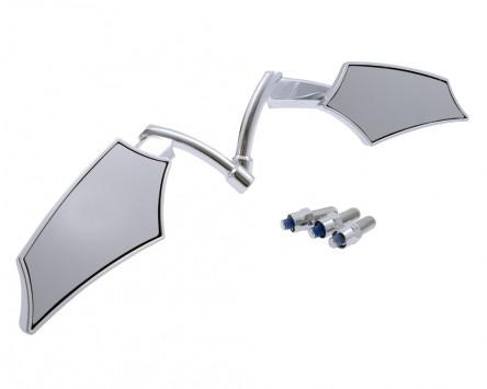 Spiegel STANDARD Motorrad Custom SHIELD, ABS, Chrom, extra Adapter