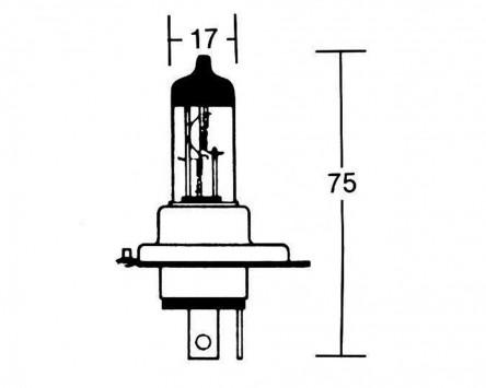 Glühbirne 12V 60/55W STANDARD H4-Birne P43T, COBALT, bläulich