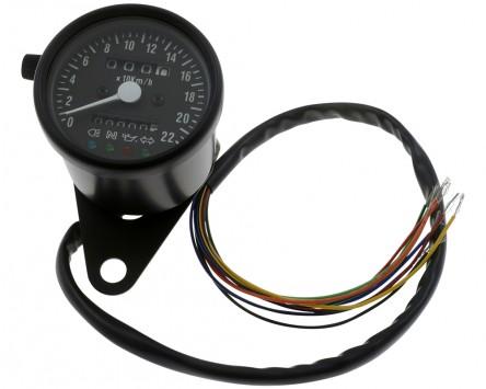 Tacho Motorrad D= 60mm, weiß, schwarzes, bis 220 km/h, 60 km/h = 1400 RPM K 1.4