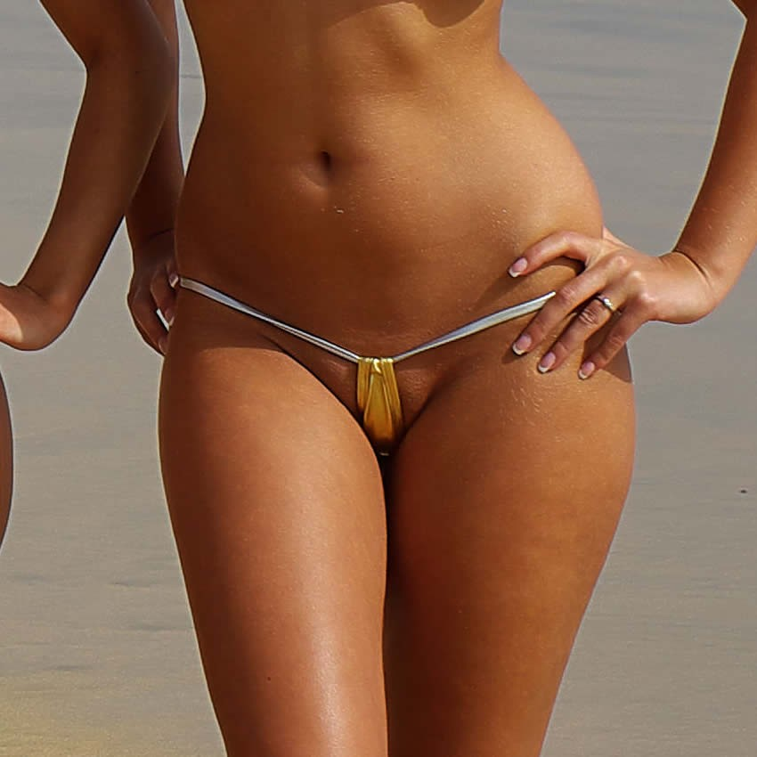 Bikini String Tanga - Metallic Teardrop