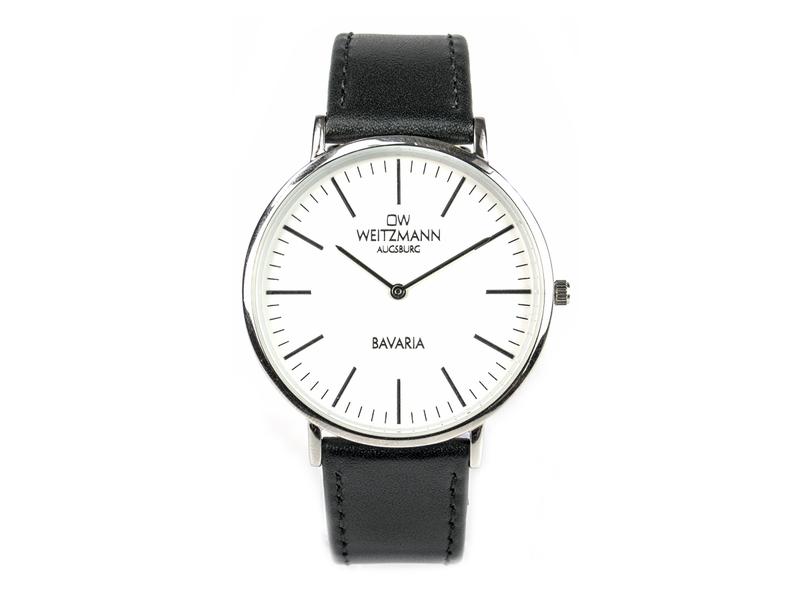 Bavaria Herren, superflache elegante Herren-Uhr, Gehäuse silber, Echtlederband schwarz