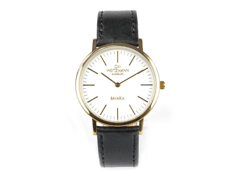 Bavaria Damen, superflache elegante Damen-Uhr, Gehäuse gold, Echtlederband schwarz