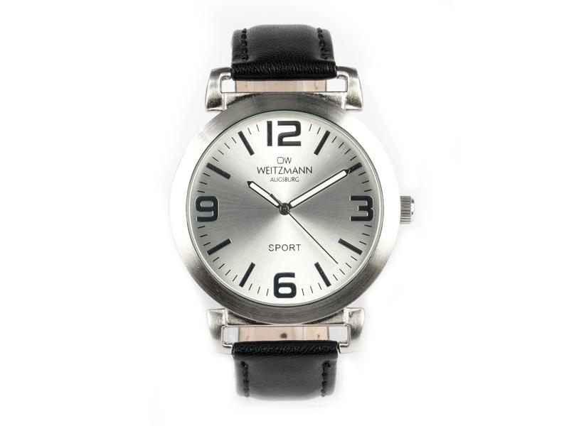 Sport, sportliche Unisex-Armbanduhr, mit silbernem Ziffernblatt, und schwarzem Echtlederband