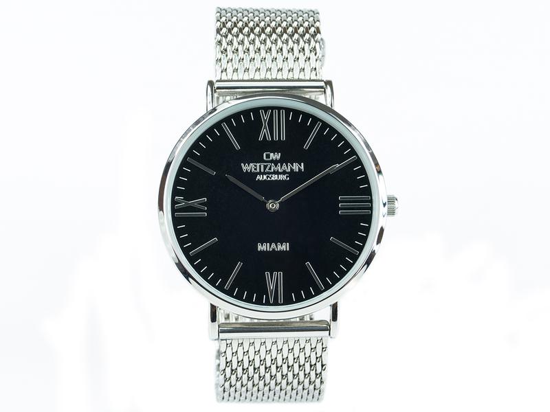 Miami, superflache Fashion-Uhr schwarz, mit Milanaise-Edelstahlband