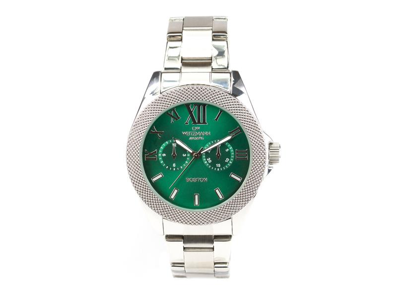 Boston, elegante Herren-Uhr, mit grünem Zifferblatt, mit Edelstahlband