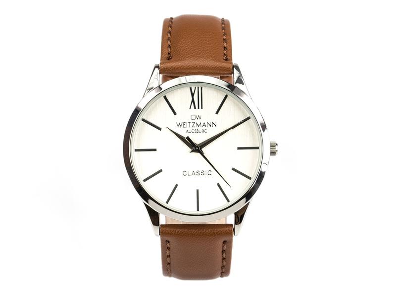 Classic, klassische Herren-Uhr, mit weißem Zifferblatt, Echtlederband braun