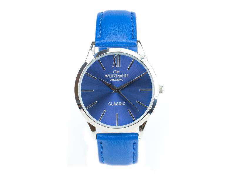 Classic, klassische Herren-Uhr, mit blauem Zifferblatt, Echtlederband blau