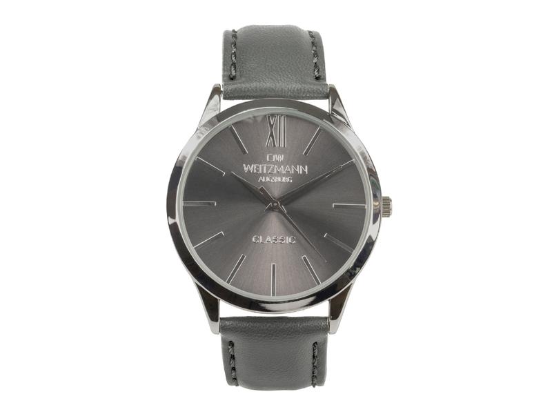 Classic, klassische Herren-Uhr, mit anthrazitfarbenem Zifferblatt, Echtlederband anthrazit
