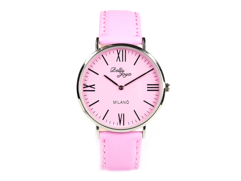 Milano, superflache Fashion-Uhr, Echtlederband rosa