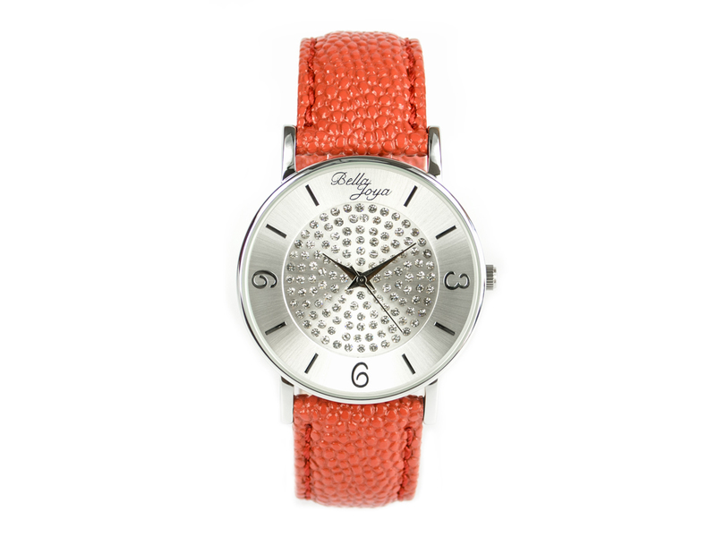 Lu,moderne Damen-Uhr, mit funkelnden Schmucksteinen, Rochen-Struktur-Echtlederband rot