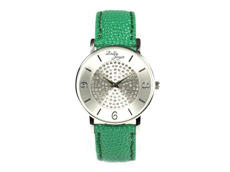 Lu, moderne Damen-Uhr, mit funkelnden Schmucksteinen, Rochen-Struktur-Echtlederband grün