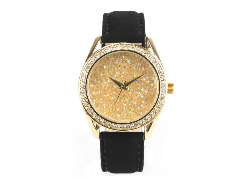 Paris, funkelnde Glamour-Uhr, goldenes Gehäuse mit Schmucksteinen, Echtlederband Samteffekt