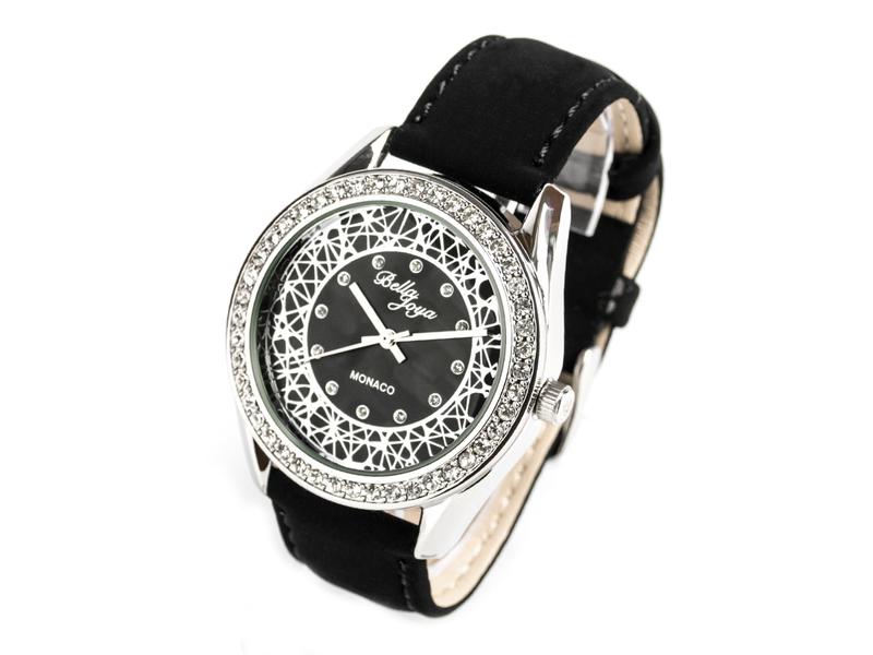 Monaco, edle Damen-Uhr, silbernes Gehäuse,Schmucksteinen, Echtlederband Samteffekt
