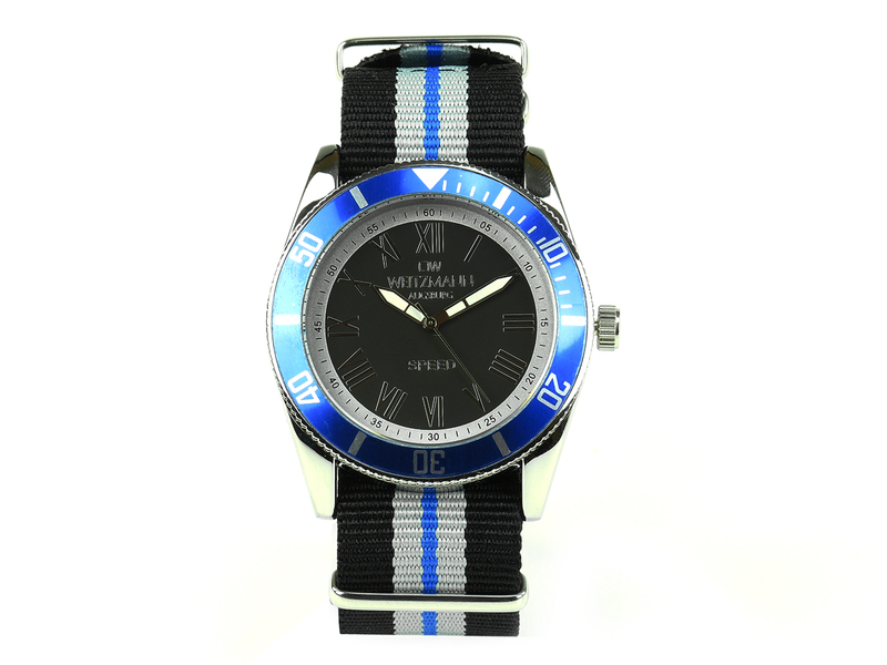 Speed, aktuelle Unisex Armband-Uhr, gestreiftes Natoband, blaue Lünette