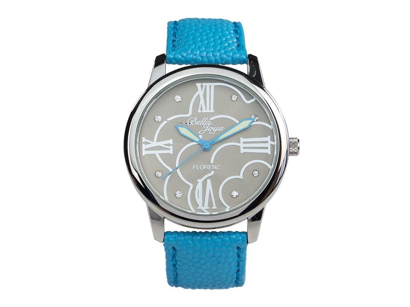 Florenz, modische Damen-Uhr, Echtlederband hellblau