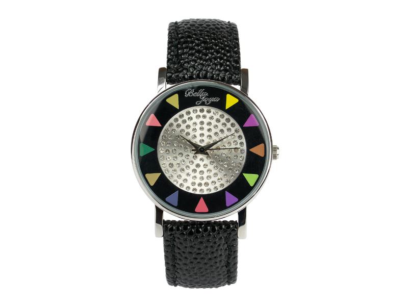 Ibiza schwarz, stylische Trend-Fashion-Uhr, Echtlederband schwarz