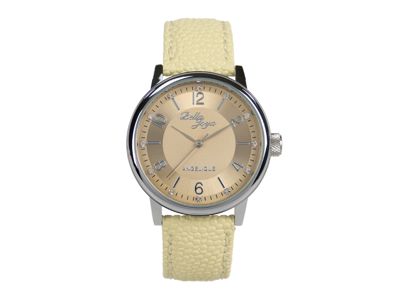 Angelique silber, elegante Mode-Uhr, Echtlederband beige