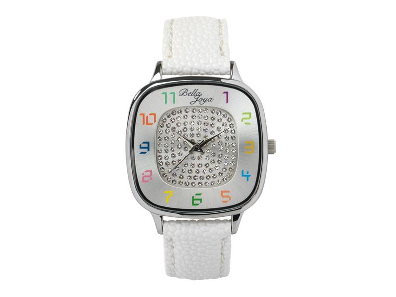 Capri, modische Trend-Uhr, Echtlederband weiß