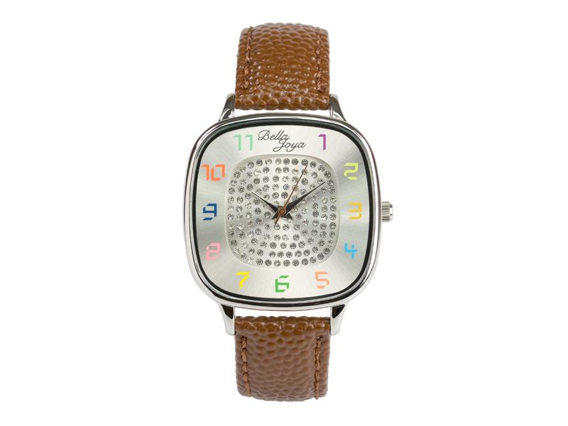 Capri, modische Trend-Uhr, Echtlederband braun