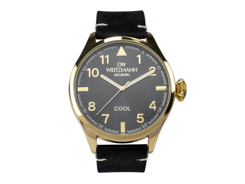 Cool, attraktive Trend-Uhr, gold, Echtlederband schwarz