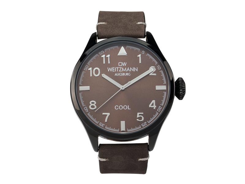 Cool, attraktive Trend-Uhr, schwarz, Echtlederband braun