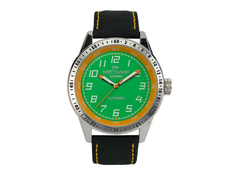Dynamic, sportlich-elegante Herren-Uhr, grün/gelb, Echtlederband schwarz