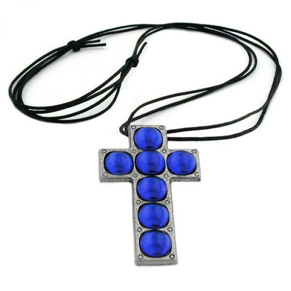 00669Kette, Kreuz Zinn, 7x blau-safir
