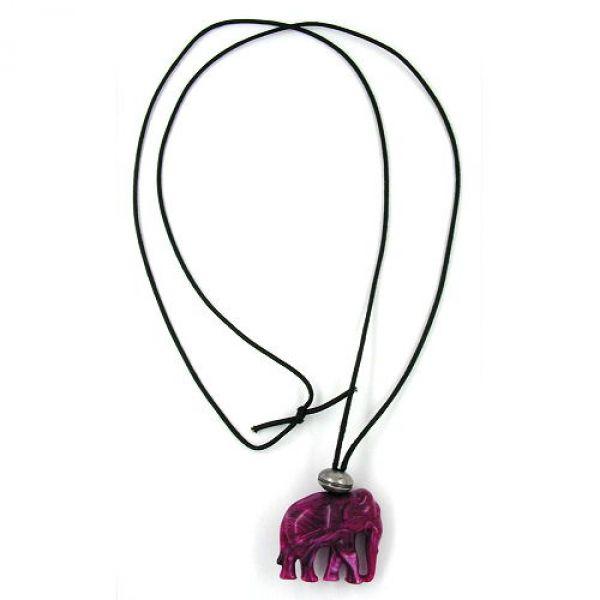 Kette, Elefant, fuchsia-altsilber 100cm