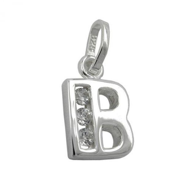 Anhänger, Buchstabe B mit CZ Silber 925