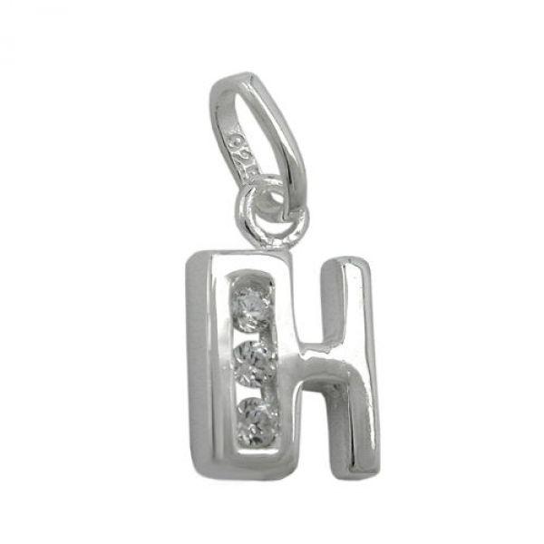 Anhänger, Buchstabe H mit CZ Silber 925