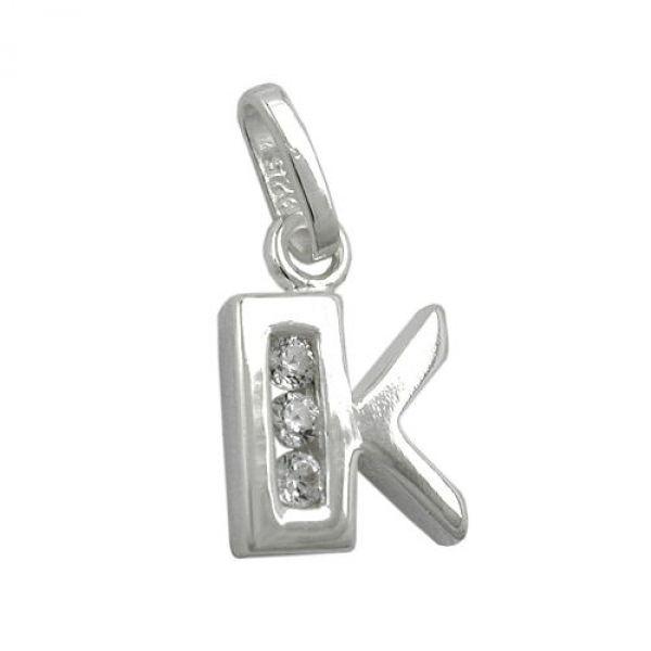 Anhänger, Buchstabe K mit CZ Silber 925