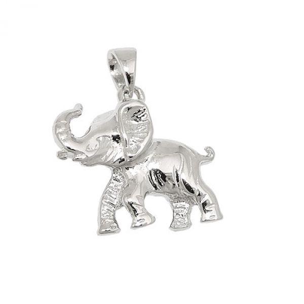 Anhänger, Elefant glänzend, Silber 925