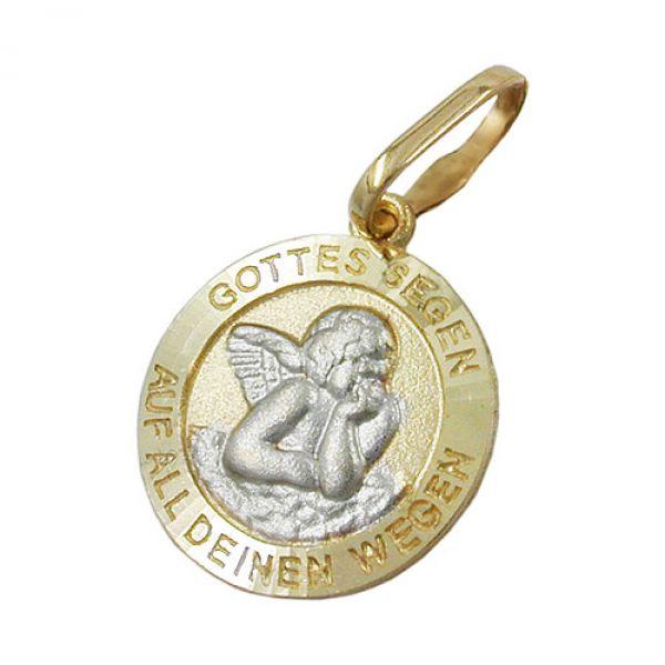 Anhänger, Engelmotiv bicolor, 9Kt GOLD