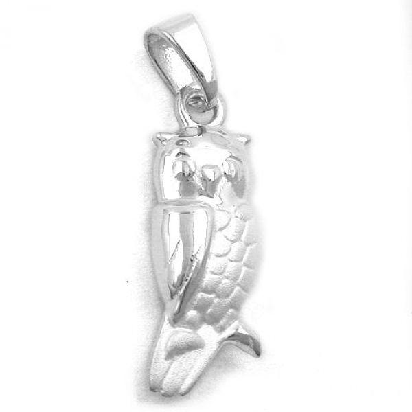 Anhänger, Eule matt-glänzend Silber 925