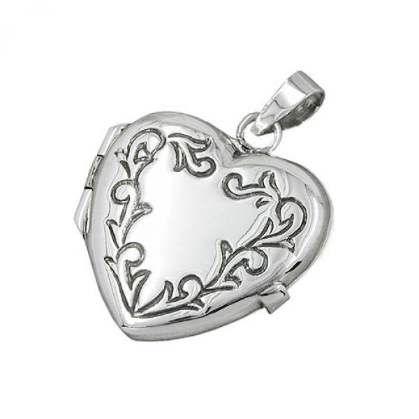 Anhänger, Herz-Medaillon, Silber 925