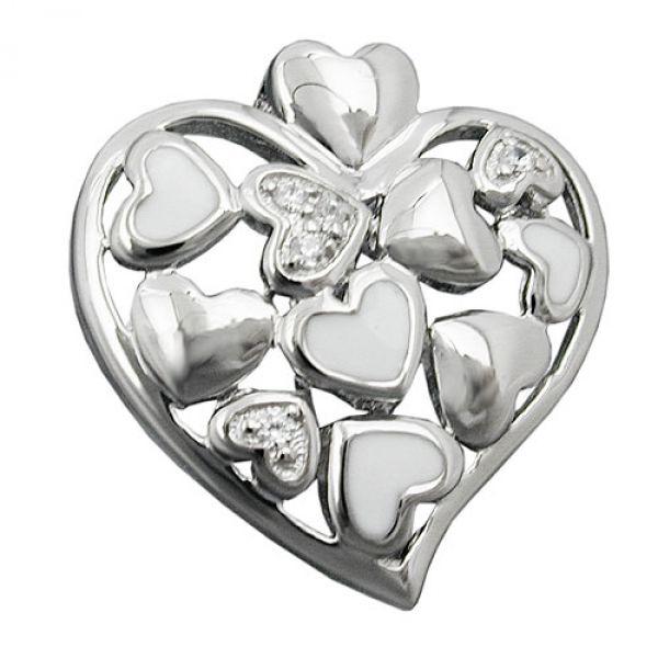 Anhänger, Herz mit Zirkonias, Silber 925